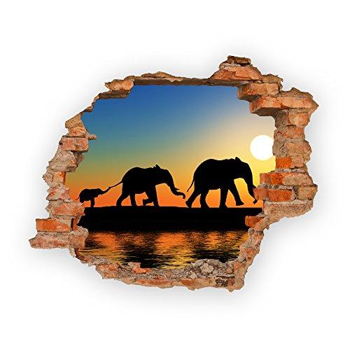 Haus und Deko Wandbild Sticker 3D wild Life Foto Tapete Wandtattoo ca. 125x100 cm in HD Qualität #1508 (Walking Elephants)