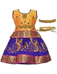 c1f59280bb1fa5 Amirtha Fashion Girls Traditional Lehenga Choli with Waist Belt- Child Pattu  (AMFCPYGB -