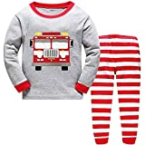 Boys Pyjamas Christmas Transportation Bus Car Nightwear Cotton Toddler Clothes Kids Sleepwear Winter Long Sleeve Christmas Pjs Sets 2 Piece Outfit Age 6-7 Years Best Xmas Gift