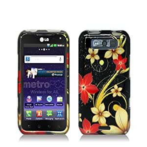 Aimo Wireless LGMS840PCIMT063 Hard Snap-On Image Case for LG Connect 4G LS840 - Retail Packaging - White/Red Flowers