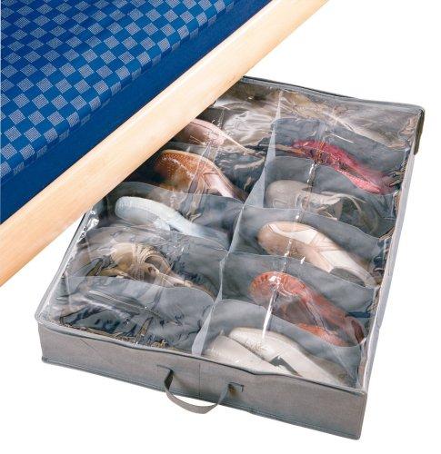 Wenko 4372100100 contenitore sottoletto per le scarpe libertà - per 12 paia di scarpe, tnt traspirante, polipropilenica, 74 x 15 x 60 cm, grigio