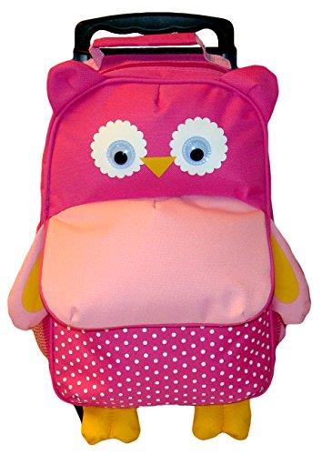 BOMIO Kinder-Trolley-Kombination | farbenfroher Kindergartenrucksack | Kindergartentasche | niedlicher Kinderkoffer | 3 Tragemöglichkeiten | süßes Eulen-Motiv pink
