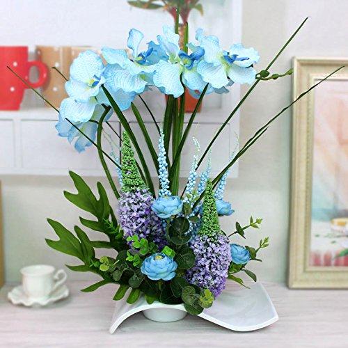 Flores artificiales orquídeas jarrones de cerámica azul Accesorios Nupcial flores decorativas Artesanía Home decoración de jardines by XHOPOS HOME
