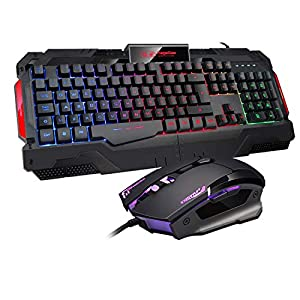 Gaming-Tastatur und Maus PS4 LED Regenbogen Hintergrundbeleuchtung Tastatur USB Wired Tastatur und Maus Combo GK806 schwarz bunt für Windows 98 / XP/ME / Win7 / Win8 {UK-Layout} Schwarz