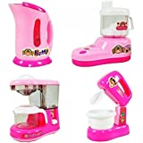 Blossom Household Appliances Toy Set -4 In 1 Kitchen & Home Utility Real Working Appliances Toys With Light & Sound For Girls, Pink