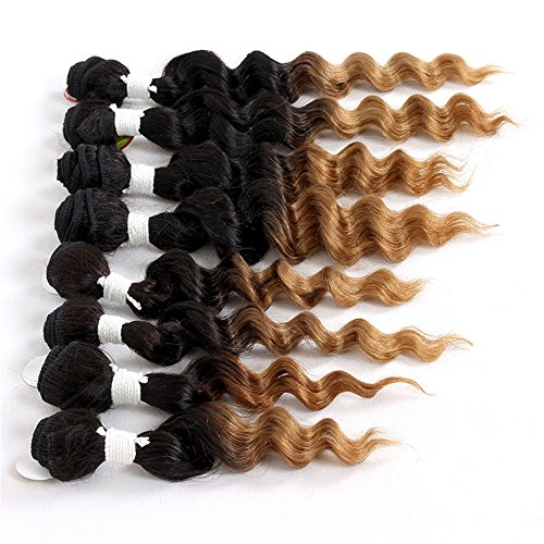 Bundles Hair In Extensions (8 Pieces/Lot Eunice Hair #1B 27 Deep Wave Human Hair Bundles 8-14 Zoll Tape in Hair Extensions Fading to Schwarz Haarverlangerung Ombre Brown Extensions (8 10 12 14 zoll, 1B 27( loose wave)))