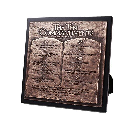 Lighthouse Christian Products Moments of Faith Paar Running Rechteck Skulptur Plaque, Ten Commandments, 8 3/4 x 8 3/4