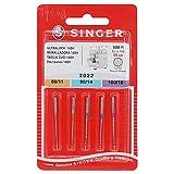 Singer N2022B05AS500R Overlocknadeln 2022 Mix 5er Nadel, Metall, Silber, 0,1 x 0,1 x 4 cm