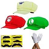 3x Chapeau Super Mario LUIGI WARIO - costume pour adultes et enfants + 3x gants et 6x barbe collante - parfait pour le carnaval et le cosplay