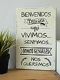 Cuadros de Madera Estilo Vintage con Frases Motivadoras. Bienvenidos a Nuestro Hogar.