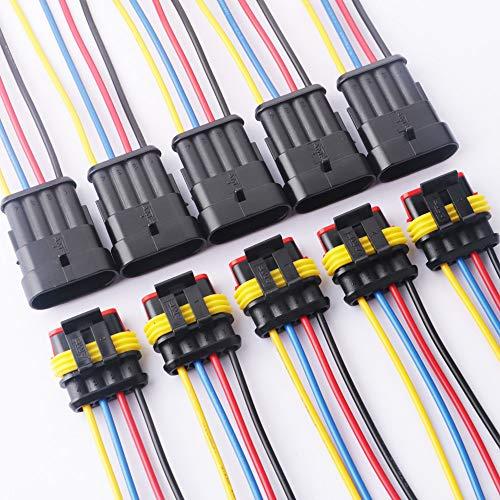 TOOHUI 5 X 4 vie Pin kit Presa Auto Impermeabile Connettore Elettrico, 4 Pin Connettore Impermeabile con Filo, Impermeabile Adattatore per Connettori Elettrici, 18 AWG Marine
