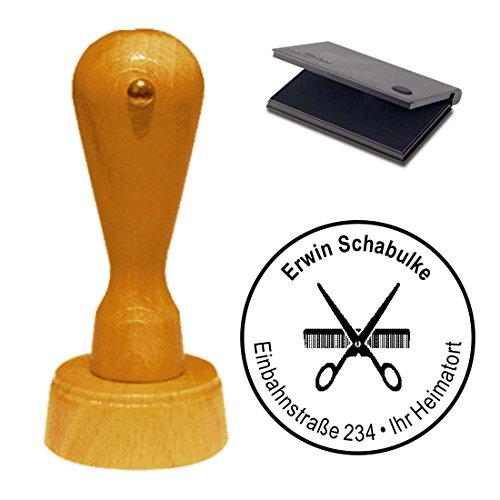 Stempel mit Kissen « FRISEUR » mit KAMM + SCHERE MOTIV Frisör Adressenstempel Firmenstempel
