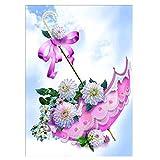sunnymi 5D Diamant Full Malerei, Blumen Diamant Zeichnung DIY Stickerei Painting Kreuz Stich Diamond Dekoration (L Regenschirm, 40 * 30cm)