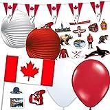 81-teiliges Dekoset * Kanada * für eine Länder-Party // mit Wimpelkette + Flaggen + Lampions + Luftballons + Konfetti // Deko Dekoration Set Mottoparty