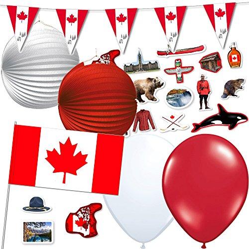 * Kanada * für eine Länder-Party // mit Wimpelkette + Flaggen + Lampions + Luftballons + Konfetti // Deko Dekoration Set Mottoparty ()