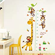 Growth Chart Height Measurement Wall Stickers Cartoon Animals Giraffe Monkeys Wall Decals for Kids Baby Room D
