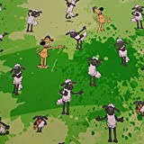 Aardman Animations Stoff Meterware Baumwolle grün Shaun