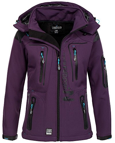 Geographical Norway Damen Softshelljacke Tassion Kapuze, Stehkragen purple/turquoise XL