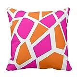 Hedes Kissenbezug, Bunte Giraffen, Hot Pink, Orange, Giraffe, Mädchen, Dekokissenbezug, quadratisch, 45,7 x 45,7 cm