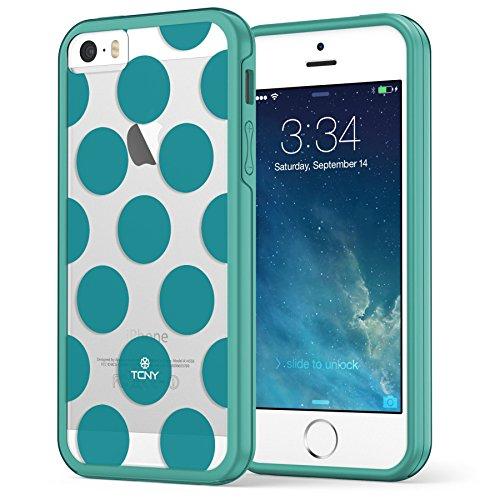 iPhone SE 5 5s haltbare dünne stoßfeste Hülle Case Cover Soft Slim TPU-Bumper , True Color® Mittelgroße Punkte gedruckt auf transparentem Hybrid Cover Hartschale - Weiß Große Punkte Blaugrün