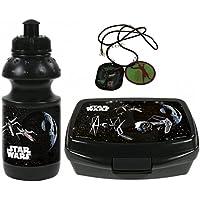 Star Wars Set TIE Fighter Halskette + Trinkflasche + Brotdose Brotbüchse Lunchbox Vesperbox preisvergleich bei kinderzimmerdekopreise.eu