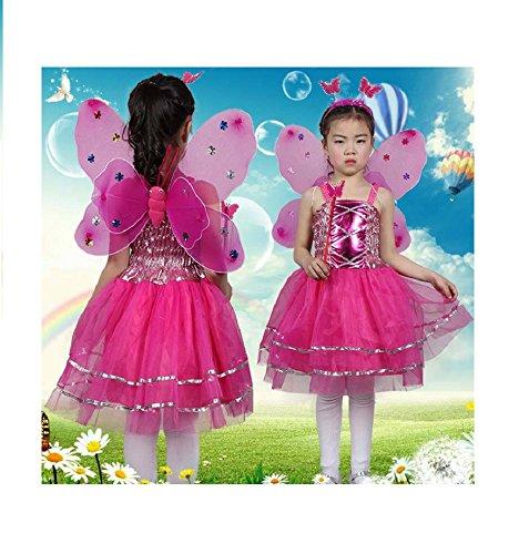 Matissa Kinder Mädchen 4 Stück Komplette Schmetterling Kostüm Set Fee Schmetterlingsflügel Alice Stirnband Tutu Kleid und Zauberstab (Rosa Heiß)
