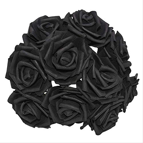 ZHYDNKD Künstliche Blume 10 Köpfe 8 cm Ziemlich Charmant Simulation Blume Schaum Rose Blumen Braut Bouquet Home Hochzeitsdekor DIY LiefertSchwarz