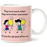Bakhand Arts Rakhi & Birthday Gift For Brother & Sister They Love Each Other Quote Printed Light Pink Coffee Mug Ceramic Designer 325 Ml - Gift For Brother & Sister, Rakhi Gift For Sister, Gift For Rakhi, Best Gift For Brother
