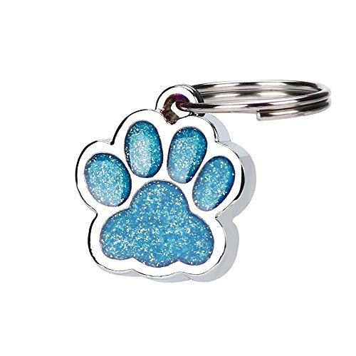 Gaddrt Personalisierte gravierte Glitter Paw Print Tag Hund Katze Pet ID Tags reflektierend Ausweis für Haustiere (Blue) - Beste Rucksack Sprayer