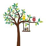 Wandtattoo Wandaufkleber Wandsticker Kinderzimmer mit Eulen und Baum. Wandbild für Mädchen, Jungen oder Baby Zimmer