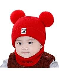 QinMM Neonato Bambini Bambino Ragazzo Ragazza Cappello Pom Set di Sciarpe per  Berretto Invernale Lavorato a ff1abfcdba21