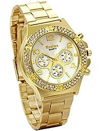 Jewelrywe Regalo de papá Día del padre Grande relojes de hombre caballero, Dorado atractivo con diamantes de imitación 3 ojos decorativos, elegante reloj de acero inoxidable