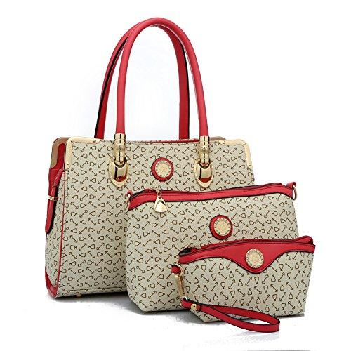 OUMIZHI Damen Leder Handtaschen Messenger Bag Clutch Purses Cross Body Satchel Rosa (Bag Messenger Purse Handtasche)