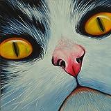 FineDecoArt Kollektion 'Max' Gemälde Leinwandbild Acrylbild gemalt 85x85 Tiere Portrait Katze cat Katzenbild Katzengesicht Unikat modern abstrakt Keilrahmen quadratisch Kunst Malerei Wanddekoration Tierarzt