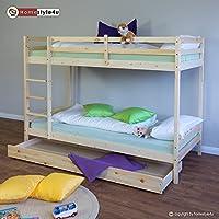 Preisvergleich für Homestyle4u Pinewood Kinder Etagenbett mit Speicher Plus 2Latten, Holz, Natur, 97x 207x 150cm