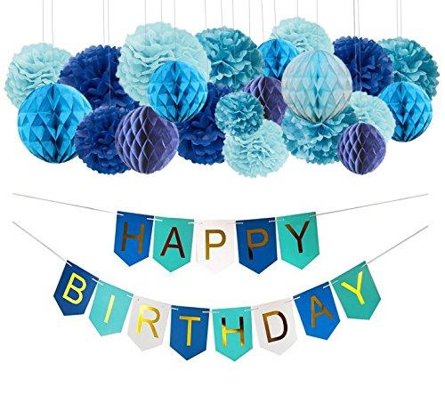 nde Geburtstag Deko Set, Blau Happy Birthday Banner und 21 Pcs Pompoms Papierwabenball Geburtstag Party deko (Geburtstag Deko Ideen Im Haus)