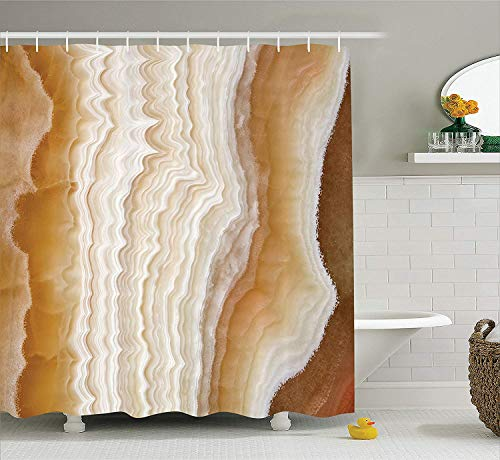BUZRL Apartment Decor Shower Curtain, Odd Wavy Marble Pattern with New Lines and Shapes Digital Nature Computer Art, Fabric Bathroom Decor Set with Hooks, 72x72 inches, Cream -
