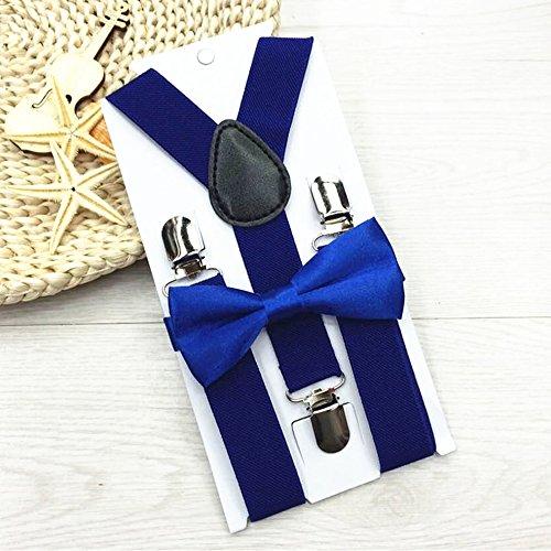 Verstellbar und elastisch mit Metallclips Polyester Kids Design Hosenträger und Bowtie Bow Tie Set Passende Krawatten Outfits - Royal Blue Bowties