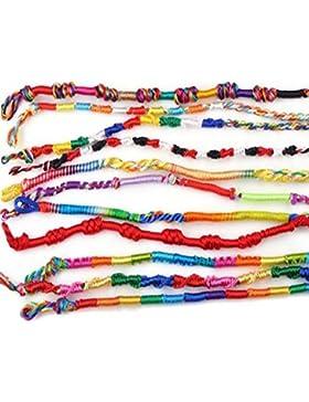 Holacha 20pcs Pulsera Brazalete de Cable Estilo Nacional Chino multicolor Tejido