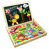 Wooden Jigsaw Puzzles Double Sided Magnetic Writing Board for Kids Drawing Boards Toy
