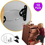Aibrisk Furniture Straps 10 Pack,Furniture Metal Anchors for Child Safety Proofing Anti-tip Wall Anchor Kit Ba