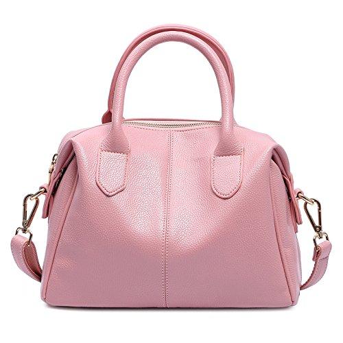 Xinmaoyuan Borse donna borsa a tracolla messenger bag Boston Borse Moda Borsetta in pelle,Rosa