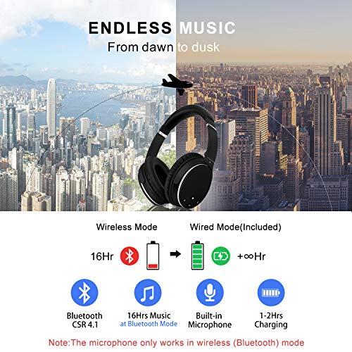 Kopfhörer Bluetooth Kabellos Noise Cancelling- Srhythm NC25- Over Ear Kopfhoerer mit Mikrofon Aktiver Geräuschunterdrückung 190g Ultraleicht Faltbar Hi-Fi Stereo mit Flugzeugstecker - 5