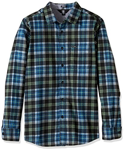 Volcom Hayden Flannel Check Shirt camicia flanella boscaiolo camicia a quadretti blu, Uomo, Hayden Flannel Check Shirt Flanell Hemd Holzfällerhemd Herren kariert Blau, Smokey Blue, XL