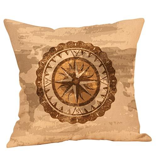 Xmiral Kissenhüllen Kissenbezüge Leinenmischung Kompass Grafiken Drucken 45 X 45cm Quadratischer Einfach Sofakissen Kopfkissenbezug(EF)