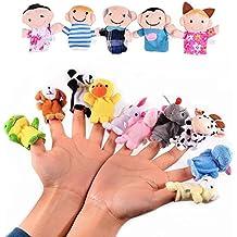 Veewon 16 x muñecas de muñecas de dedo Set Cute Cartoon Animal Finger Puppet Family Plush Toy Muñecas Child Baby Favor Juguetes educativos