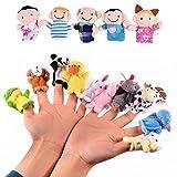 Veewon 16 x Fingerpuppen Set Niedlichen Cartoon Tier Fingerpuppe Familie Plüschtier Puppen Kind Baby Favor Lernspielzeug