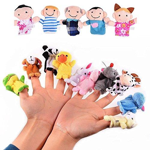 Veewon 16 x Finger Puppets Set Cute Cartoon Animal Finger Puppet Famiglia Peluche Bambole Giocattolo per bambini Giocattoli educativi per bambini