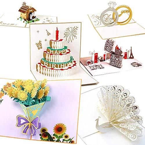 3d pop up biglietto di auguri qintian fatto a mano biglietto d'auguri carta 3d pop up card compleanno, 3d natalizio cartolina d'auguri per san valentino, festa della mamma, compleanno, anniversario
