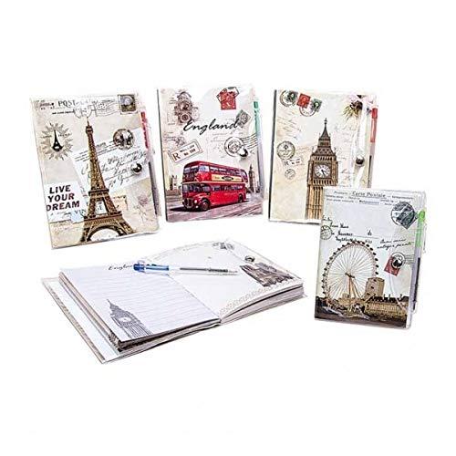 DISOK Pack de 20 Libretas Postales y Bolígrafo, PVC, 9x14x19 cm